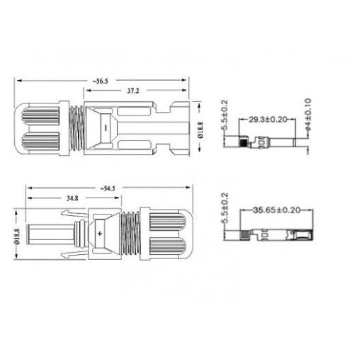 Купить Коннектор MC4 AB 30А для подключения солнечных панелей (комплект 2 шт)
